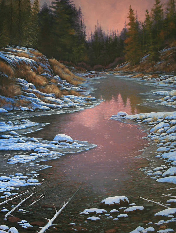 Landscape Art Print featuring the painting 080210-3040 Early Morning Light - Winter by Kenneth Shanika