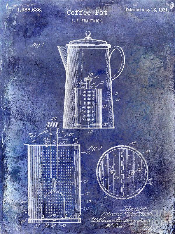 Coffee Art Print featuring the photograph 1921 Coffee Pot Patent by Jon Neidert