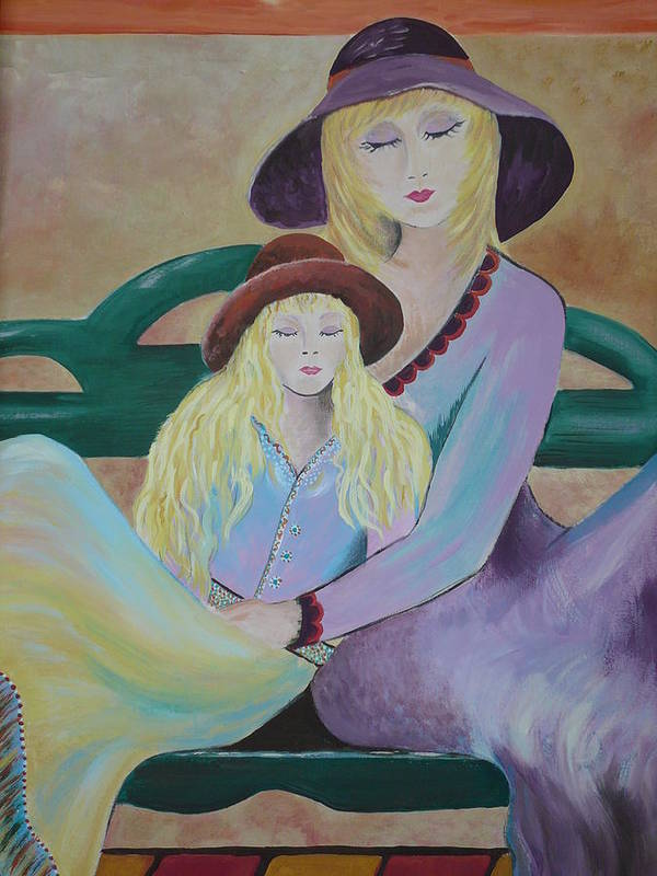 Mother/daughter Art Print featuring the painting Angel Face by Kris Crollard