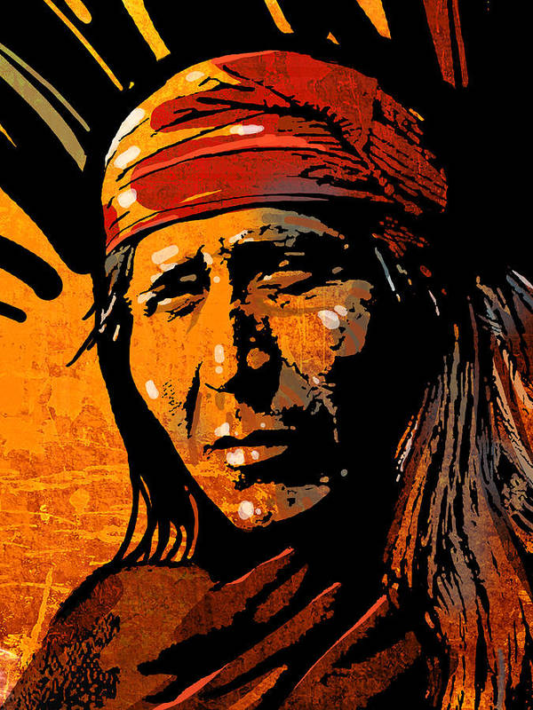 Native American Art Print featuring the painting Apache Warrior by Paul Sachtleben