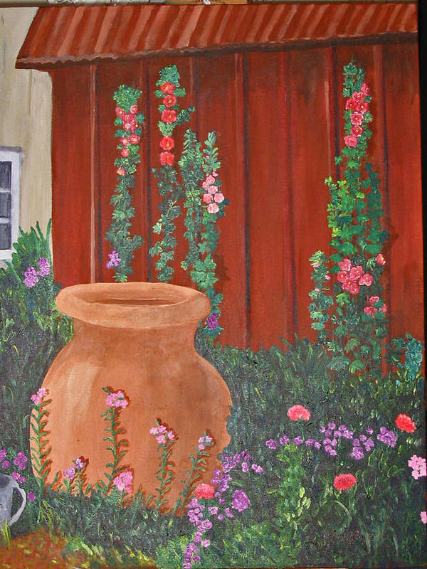 Landscape Art Print featuring the painting Brown Jug by Marcia Paige