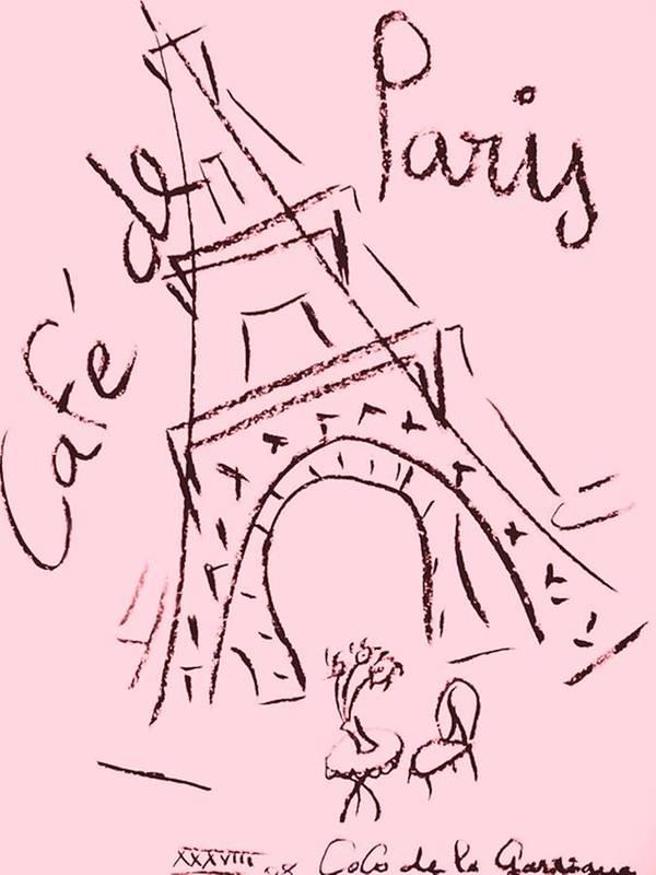 Eiffel Tower. Art Print featuring the digital art Cafe De Paris by Coco de la Garrigue