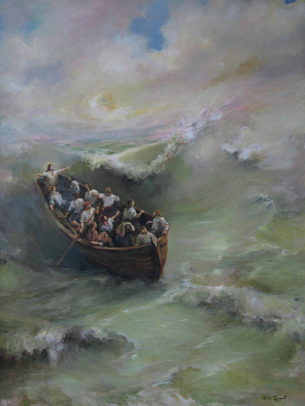 Calming The Storm Print featuring the painting Calming The Storm by Tigran Ghulyan