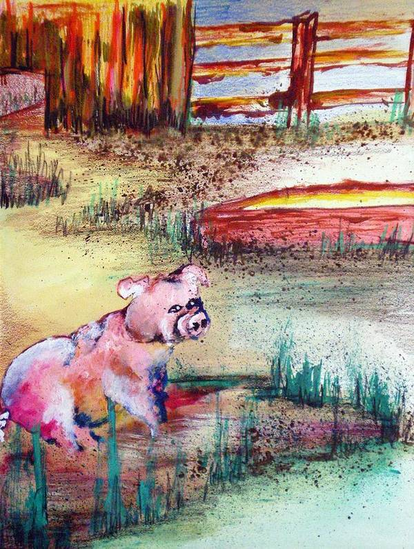 Pig Piglet Art Print featuring the painting Farm Piggy by Tammera Malicki-Wong