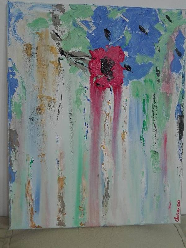 Abstract Art Print featuring the painting Flori by Clara Tanasie