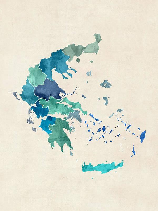 Map Art Art Print featuring the digital art Greece Watercolor Map by Michael Tompsett