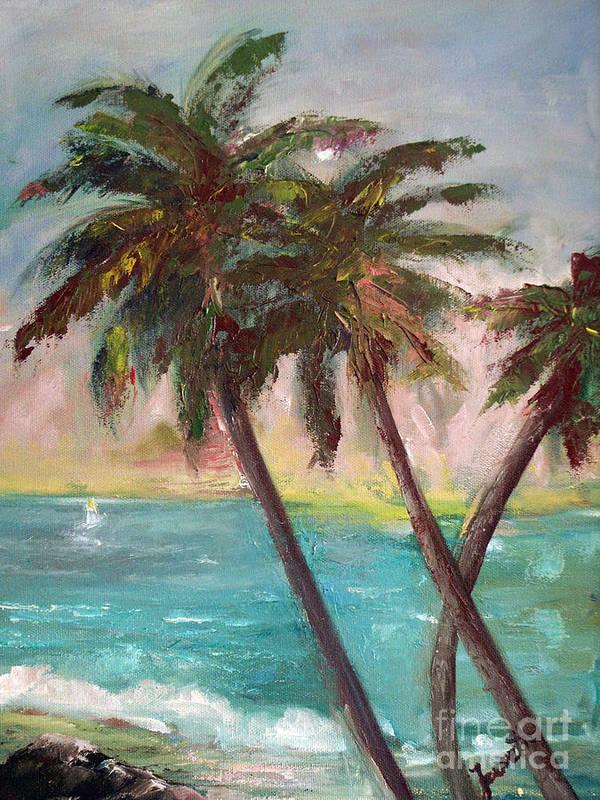 Hawaiian Art Print featuring the painting Hawaiian Palms by Jeanette Fowler
