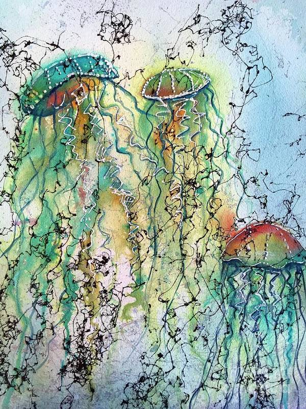 Jellyfish Art Print featuring the painting Jellyfish IIi by Midge Pippel
