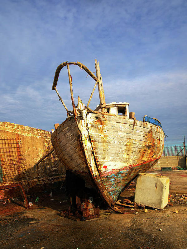Old Art Print featuring the photograph Old Dilapidated Wooden Boat by Ofer Zilberstein