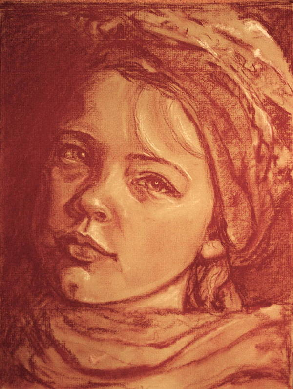 Portrait Art Print featuring the painting Portrait Of A Young Girl by Dan Earle