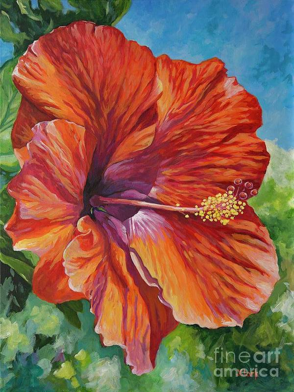 Flower Art Print featuring the painting Red Hibiscus by John Clark