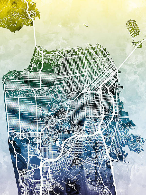 photograph relating to San Francisco Maps Printable referred to as San Francisco Town Road Map Artwork Print
