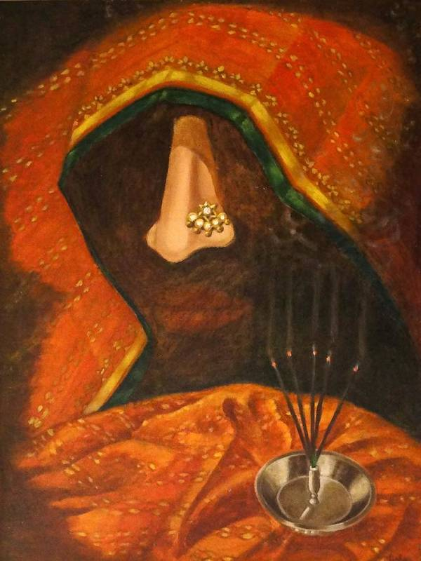 Scent Art Print featuring the painting Scent Of A Woman by Usha Shantharam
