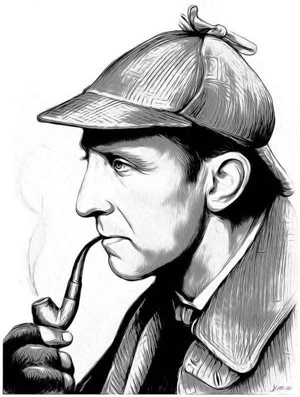 Sherlock Holmes Art Print featuring the digital art Sherlock Holmes by Greg Joens