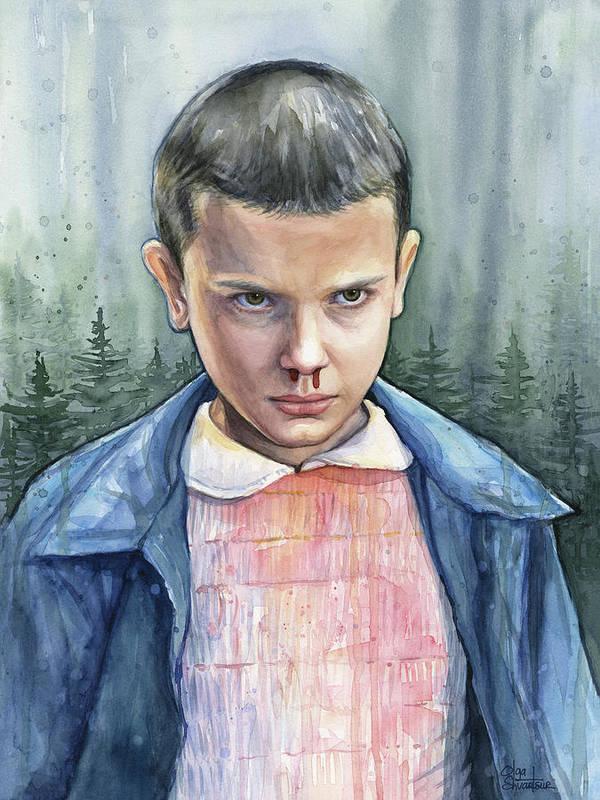 Strager Things Art Print featuring the painting Stranger Things Eleven Portrait by Olga Shvartsur