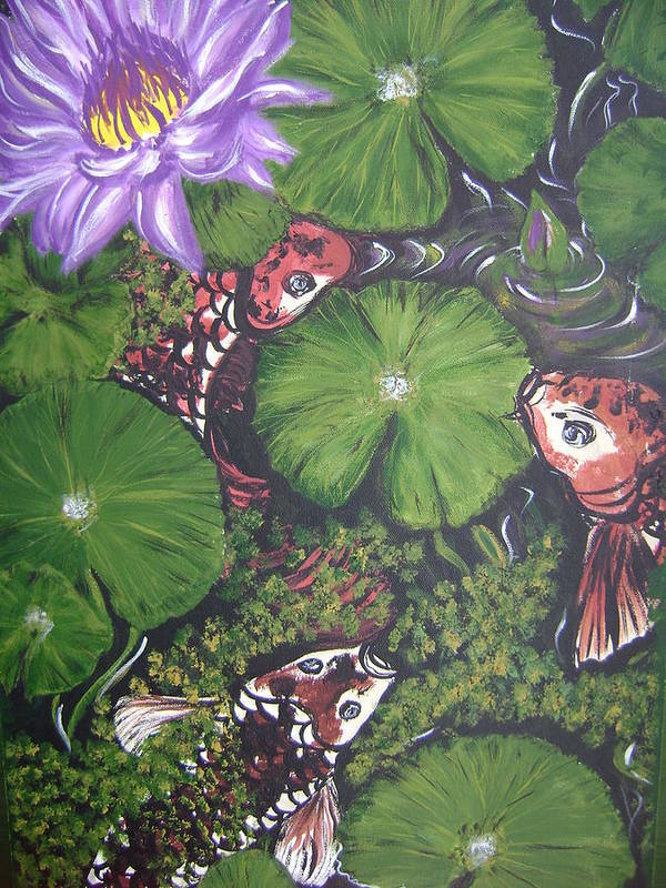 Koi Art Print featuring the painting Summer Pond by Laura Johnson