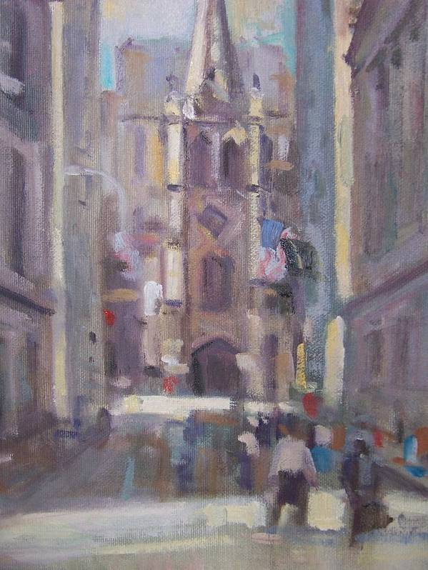 Wall St Looking At Trinity Church. Art Print featuring the painting Wall St by Bart DeCeglie