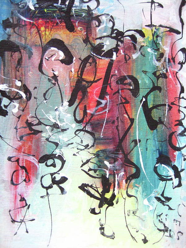 Abstract Landscape Painting Art Print featuring the painting Abstract Calligraphy by Seon-jeong Kim