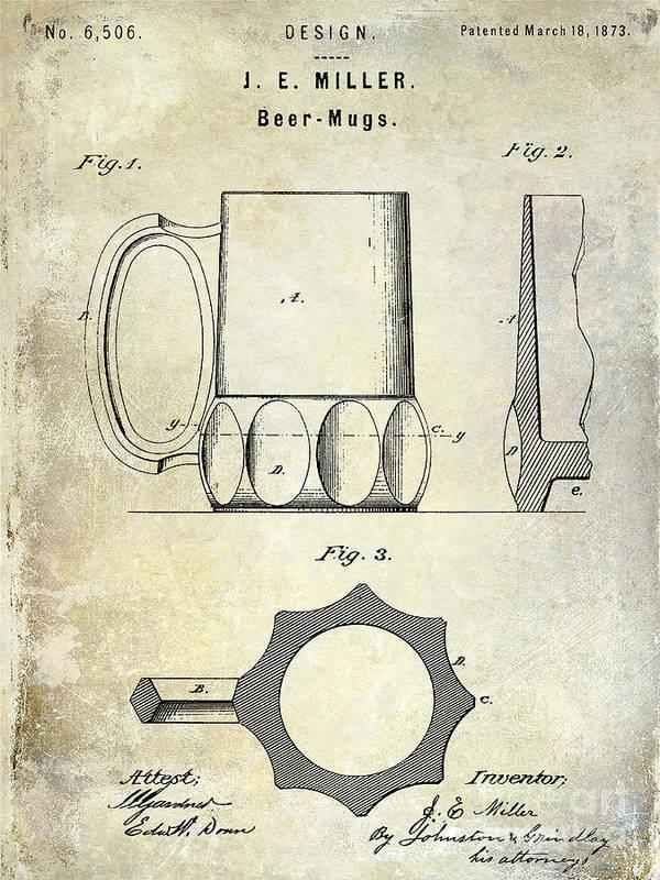 Beer Art Print featuring the photograph 1873 Beer Mug Patent by Jon Neidert