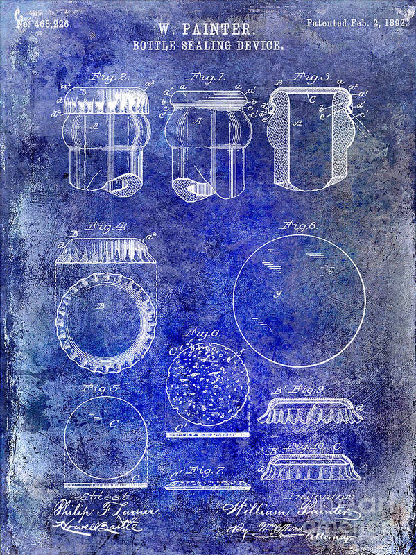 Beer Art Print featuring the photograph 1892 Bottle Cap Patent Blue by Jon Neidert