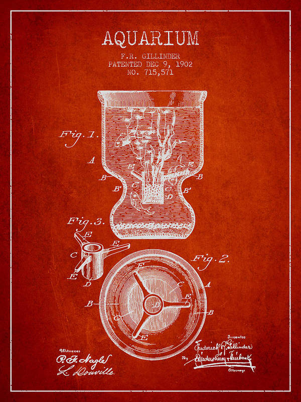 Fish Bowl Art Print featuring the digital art 1902 Aquarium Patent - Red by Aged Pixel