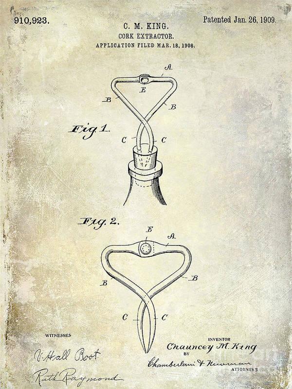 Corkscrew Art Print featuring the photograph 1909 Cork Extractor Patent by Jon Neidert