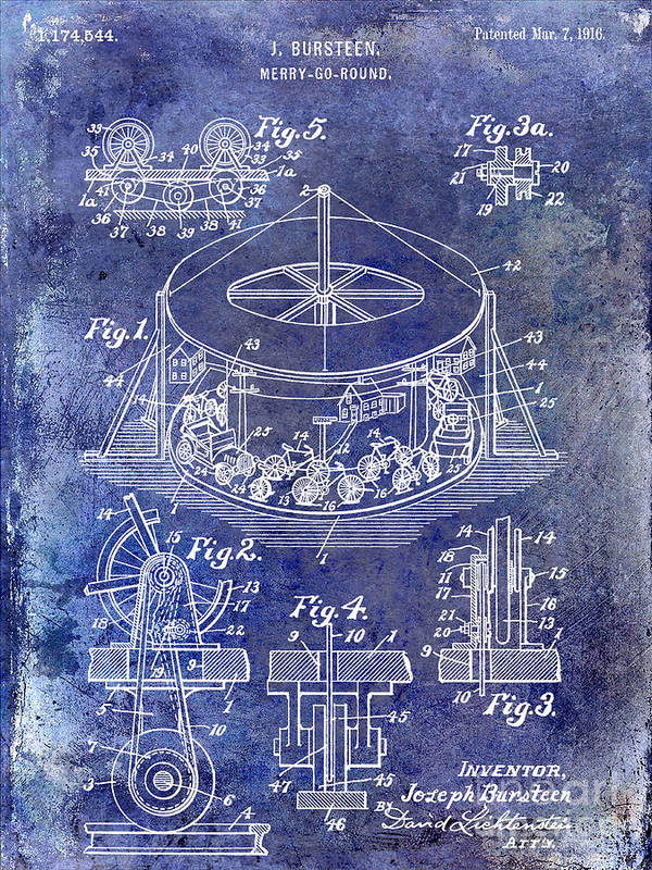 Merry Go Round Art Print featuring the photograph 1916 Merry Go Round Patent Blue by Jon Neidert