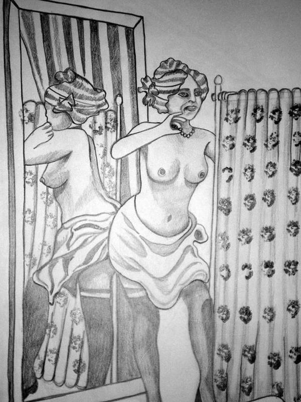 Deco Art Print featuring the drawing 1920s Women Series 6 by Tammera Malicki-Wong