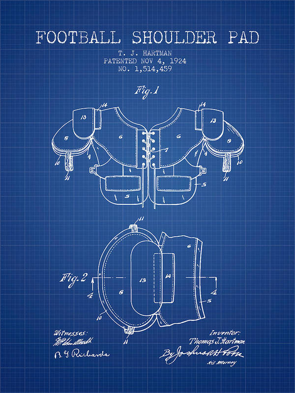 1924 football shoulder pad patent blueprint art print by aged pixel football art print featuring the digital art 1924 football shoulder pad patent blueprint by aged malvernweather Image collections