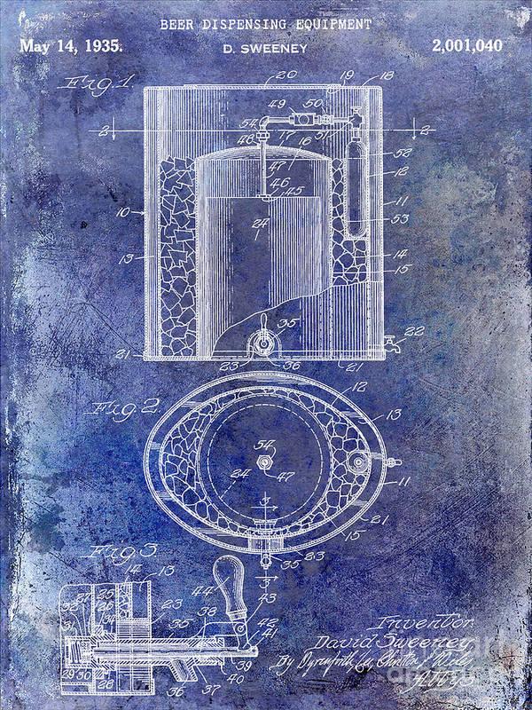 Beer Art Print featuring the photograph 1935 Beer Equipment Patent Blue by Jon Neidert