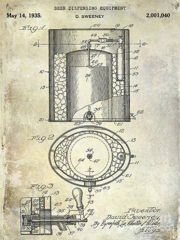 Beer Art Print featuring the photograph 1935 Beer Equipment Patent by Jon Neidert