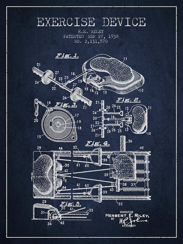 Exercise Art Print featuring the digital art 1938 Exercise Device Patent Spbb09_nb by Aged Pixel