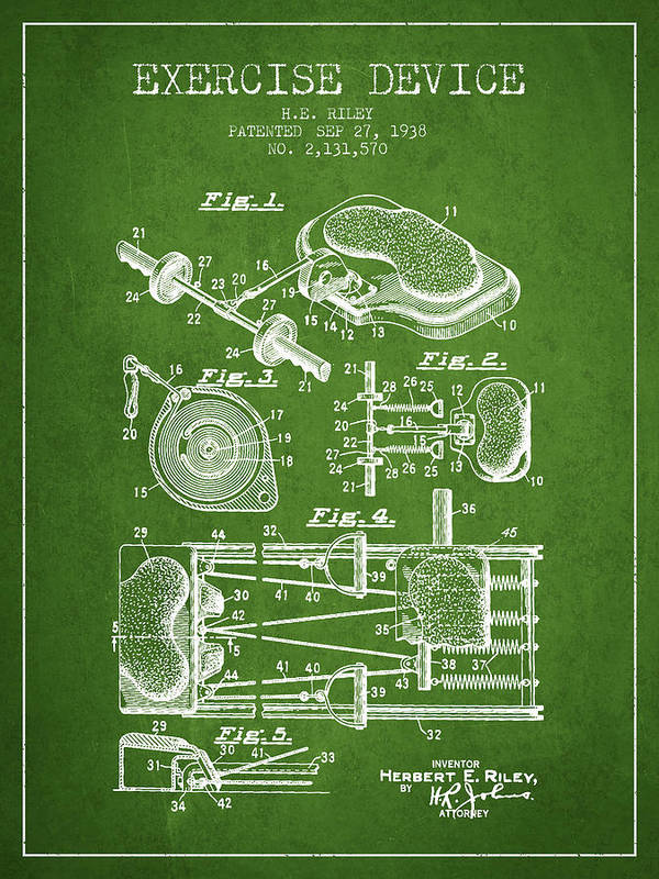 Exercise Art Print featuring the digital art 1938 Exercise Device Patent Spbb09_pg by Aged Pixel
