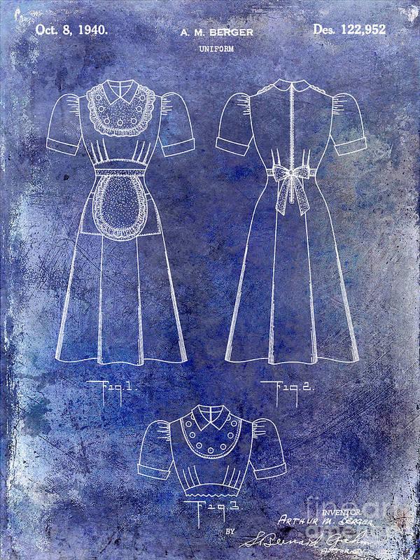 Waitress Uniform Art Print featuring the photograph 1940 Waitress Uniform Patent Blue by Jon Neidert