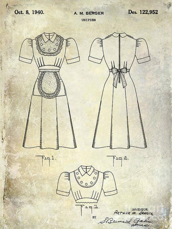 Waitress Uniform Art Print featuring the photograph 1940 Waitress Uniform Patent by Jon Neidert