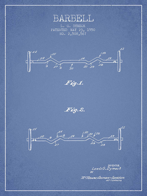 Bench Press Art Print featuring the digital art 1950 Barbell Patent Spbb04_lb by Aged Pixel