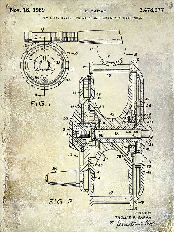 Fishing Reel Patent Art Print featuring the photograph 1969 Fly Reel Patent by Jon Neidert