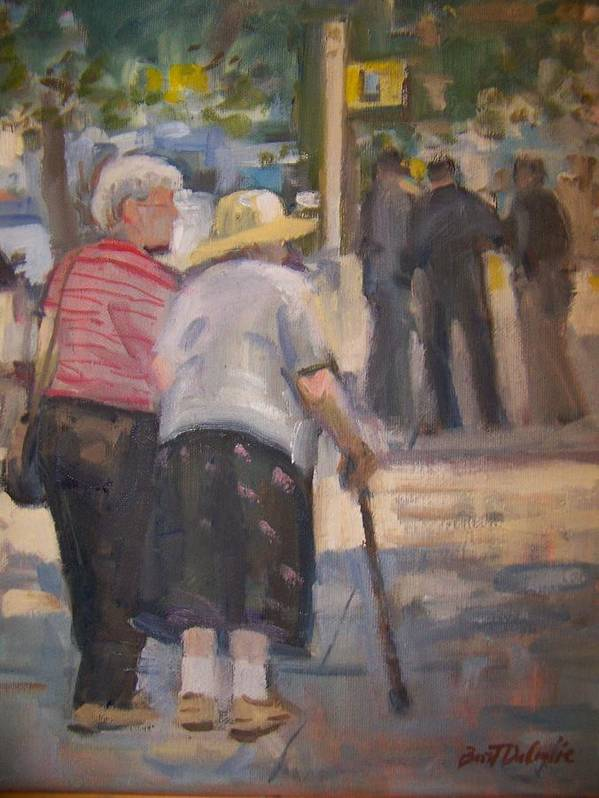 2 Ladies Walking In Ny. Art Print featuring the painting 2 Ladies In Ny by Bart DeCeglie