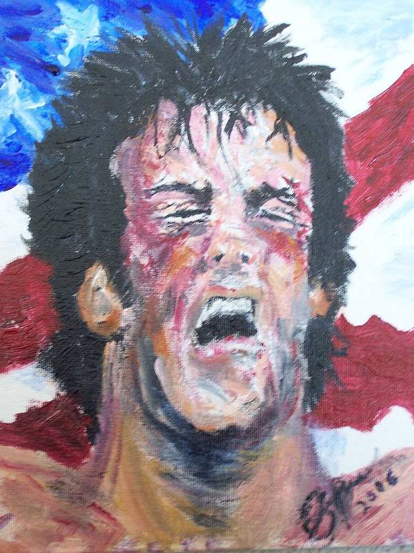 Stallone Art Print featuring the painting Rocky by Francis Bourque