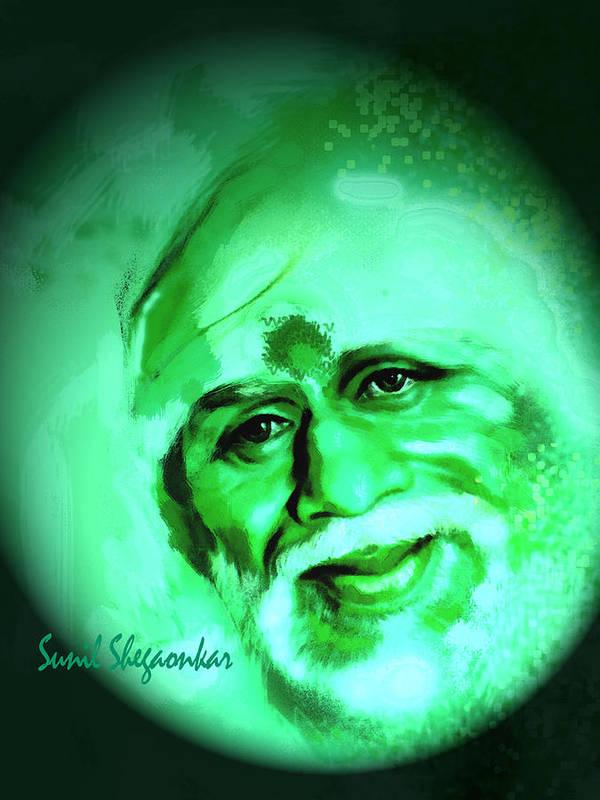 Sai Art Print featuring the photograph Sai Smile by Sunil Shegaonkar
