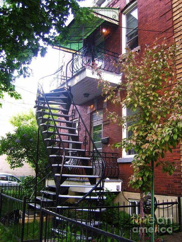 Stairs Balcony Windows House Trees Street Scene Garden Art Print featuring the photograph Streets Of Montreal by Reb Frost