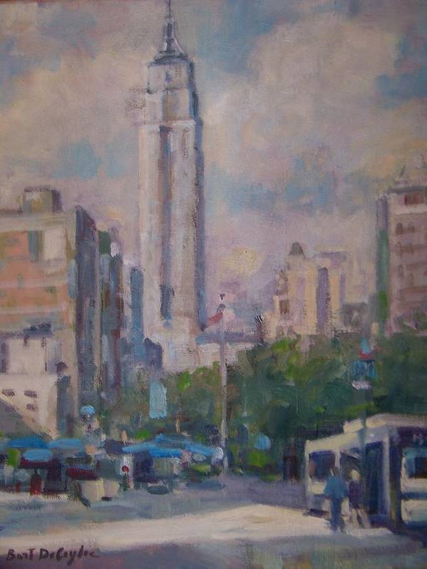 23rd St Looking North At Empire Building Art Print featuring the painting 23rd St by Bart DeCeglie