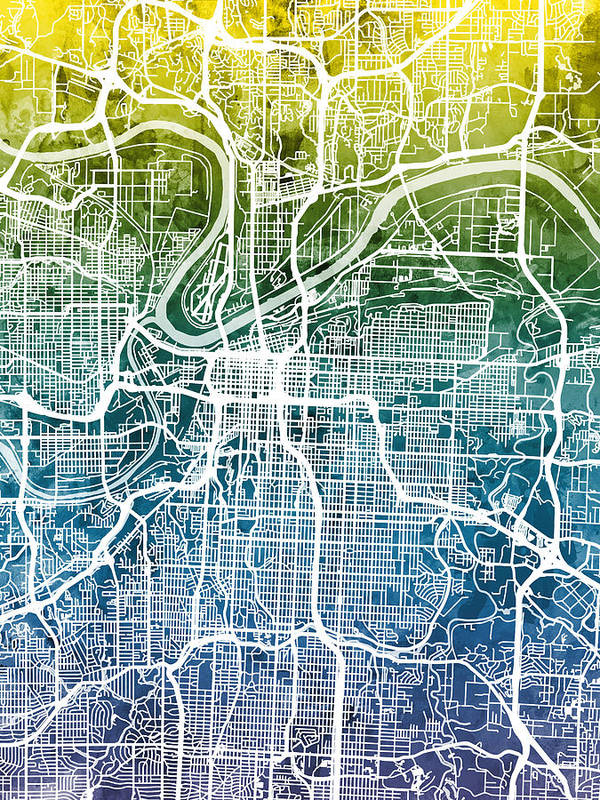 Kansas City Missouri City Map Art Print by Michael Tompsett