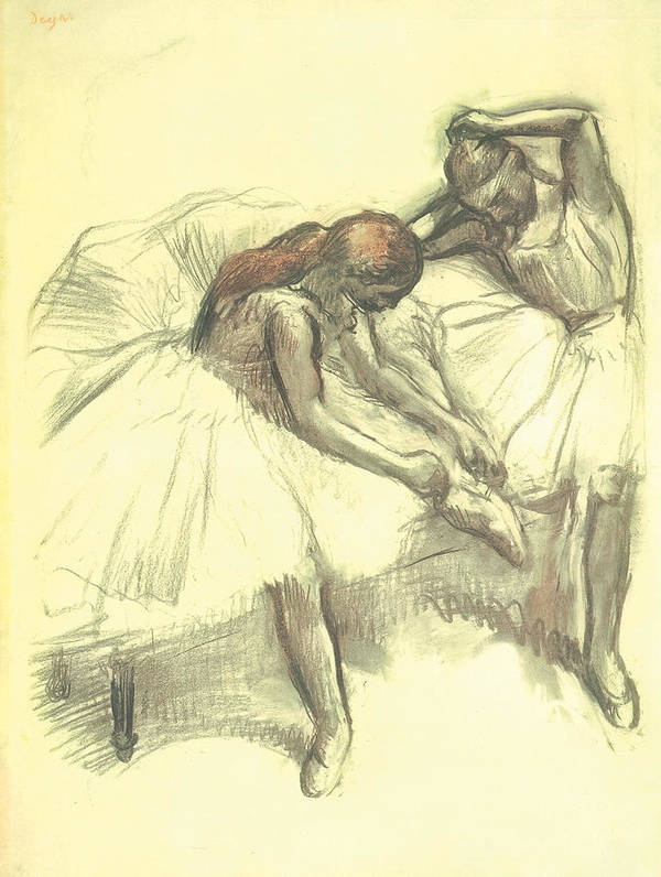 Two Dancers Art Print featuring the drawing Two Dancers by Edgar Degas