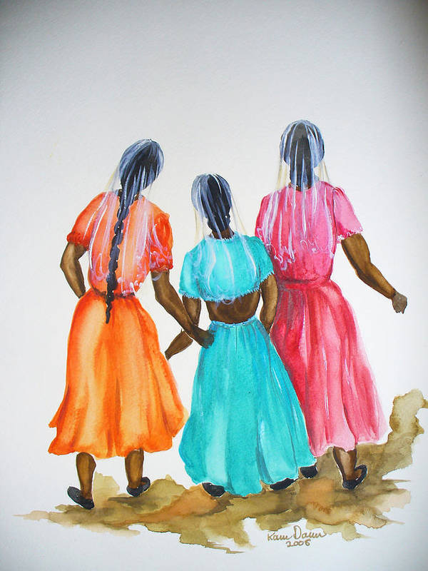 Three Ladies East Indian Art Print featuring the painting 3bff by Karin Dawn Kelshall- Best