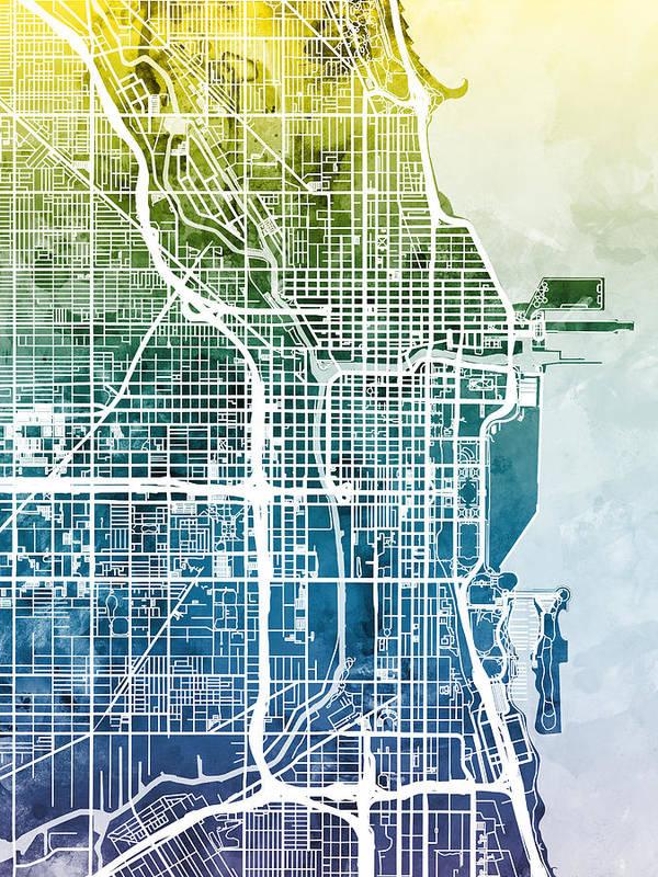 Chicago Art Print featuring the digital art Chicago City Street Map by Michael Tompsett