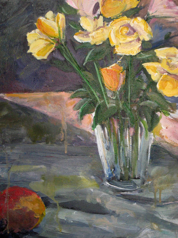 Yellow Rose Art Print featuring the painting 45 Minutes by Alicia Kroll