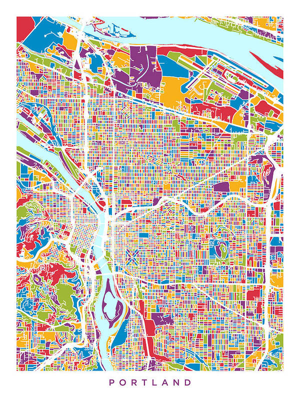 image regarding Printable Map of Oregon named Portland Oregon Metropolis Map Artwork Print