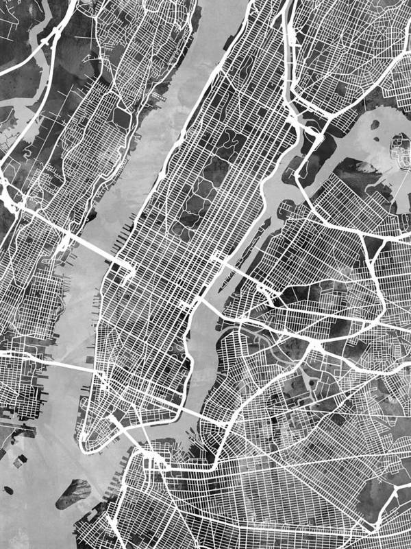 new york art print featuring the digital art new york city street map by michael tompsett