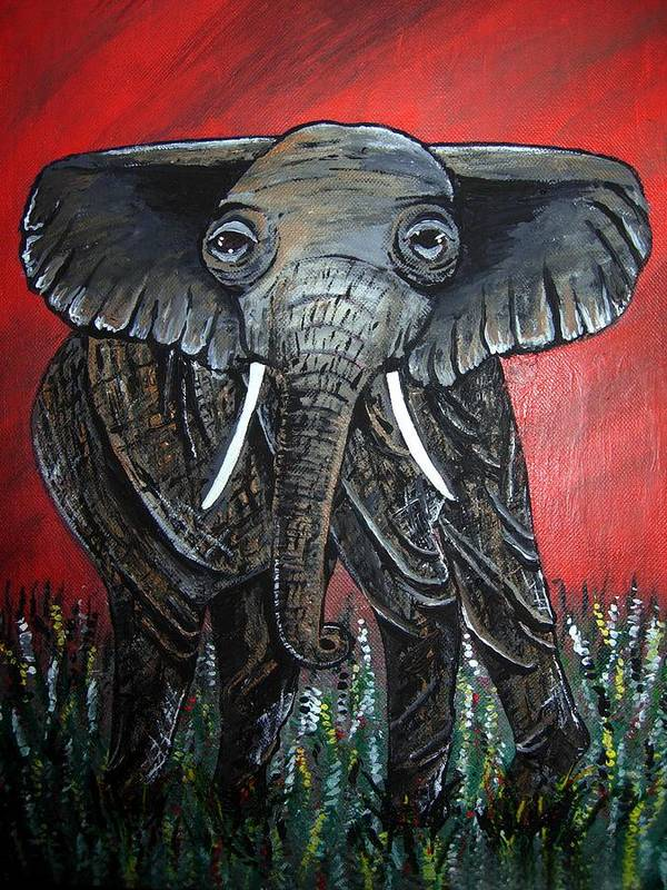 Elephant Art Print featuring the painting A Crimson Kind Of Day by Sharon Supplee